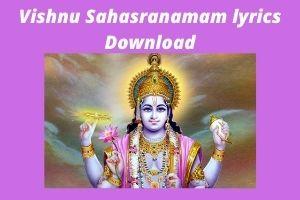 Vishnu Sahasranamam lyrics Download PDF Book
